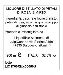 Cuore Profumato liquore di Mirto e Rosa - Liquorista Albimonte